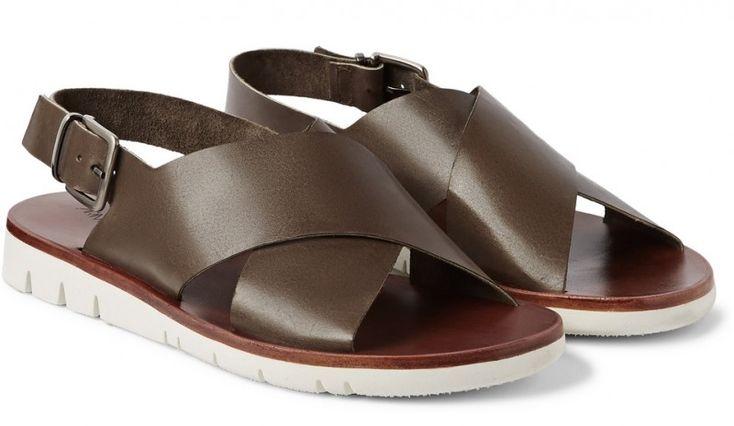 Armando Cabral Wide Strap Leather Sandals, Men's Spring Summer Fashion.