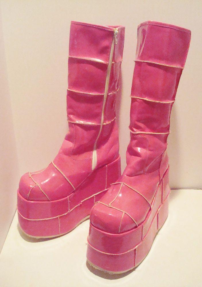 5747fcef07a Demonia Pink 5 Inch Stack Platform Boots Woman s 13 - Men s 11  Demonia   Boots
