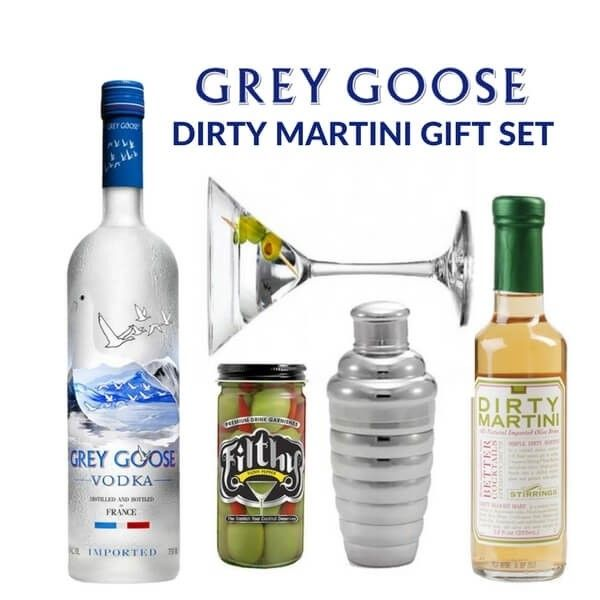Know someone that loves a dirty Martini? Send them this gift set, no recipe needed! Our Grey Goose Dirty Martini Gift Set includes olive brine, Grey Goose, olives, and a martini glass and shaker - with fast free shipping you can`t go wrong!