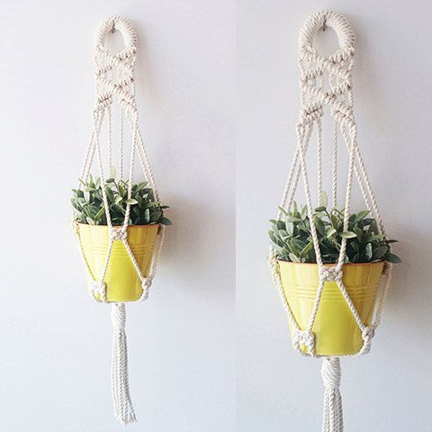 Macrame Plant Hanger Hanging Planter Indoor Plant by freefille