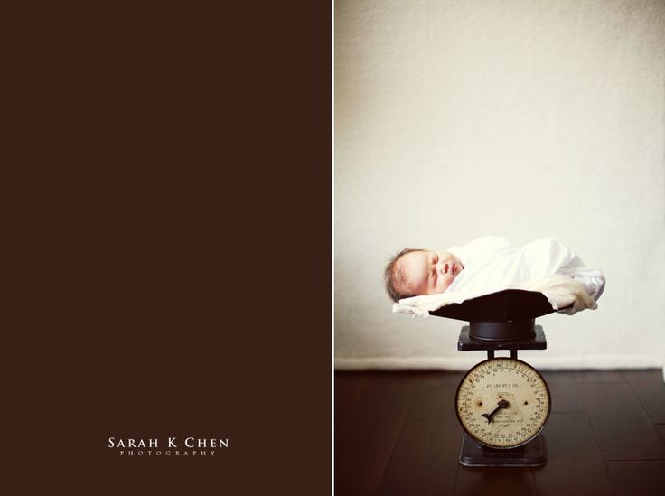 baby announcement/monochrome/scale as prop to indicate birth weight