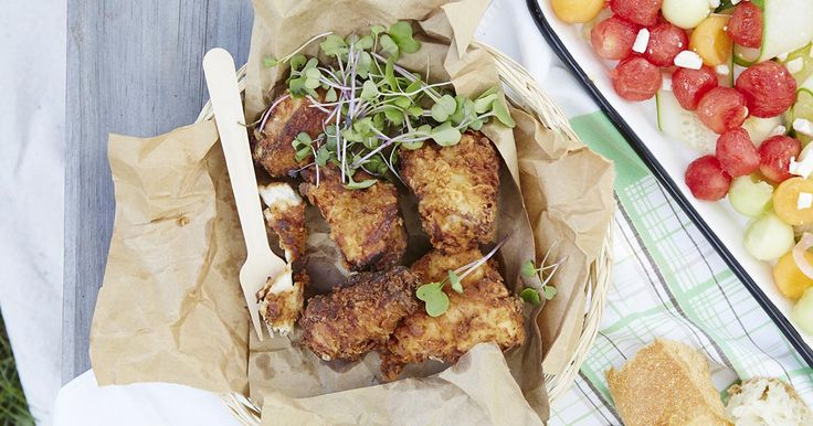 Crispy fried chicken gets a boost from self-rising and whole wheat flours, with calorie-cutting cooking techniques.