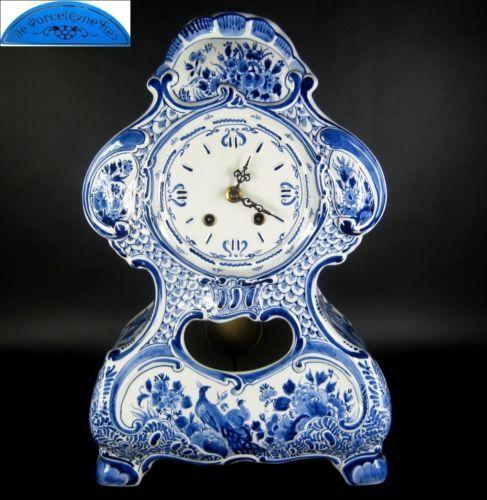 De-Porceleyne-Fles-Keramik-Uhr-Tischuhr-Pendeluhr-Gong-Delft-Holland-Fayence