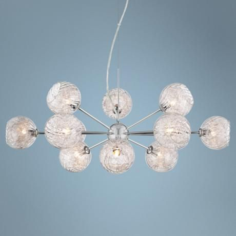 Possini Euro Wired 32 Wide Glass And Chrome Chandelier