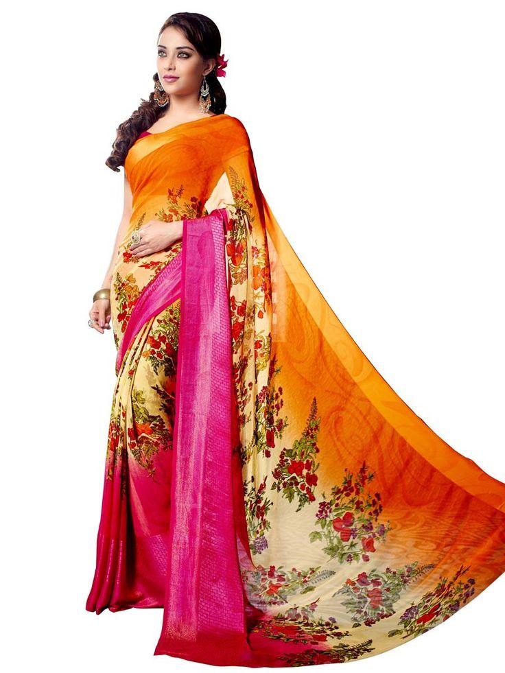 Exclusive pink, cream and orange color floral print #Georgette #Saree. Item Code : SUL14036 http://www.bharatplaza.com/new-arrivals/sarees.html