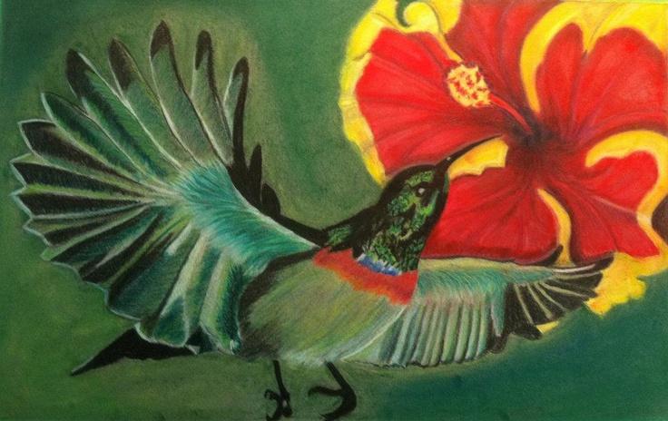Composition oiseau mouche dans fleur d 39 hibiscus m dium mixe pastel sec et crayons couleurs - Oiseau mouche dessin ...