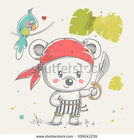Cute little bear pirate cartoon hand drawn vector illustration. Can be used for baby t-shirt print, fashion print design, kids wear, baby shower celebration greeting and invitation card.