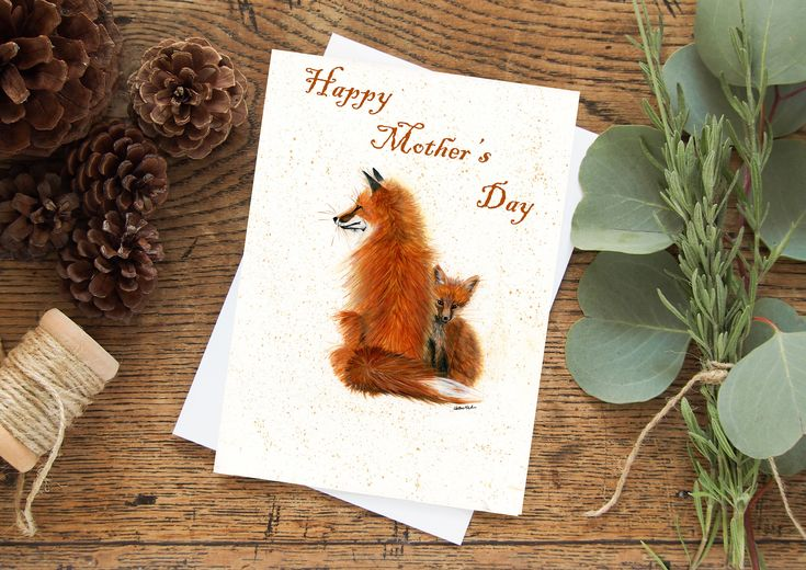 Excited to share the latest addition to my #etsy shop: Mama Fox and Kit Greeting Card - Mother's Day