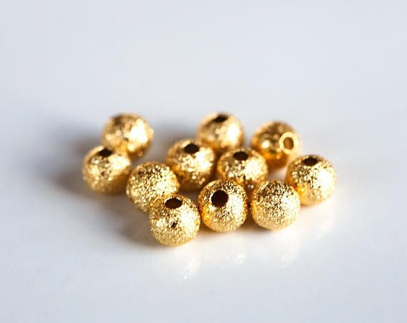 2986 Gold beads 5mm Small beads Gold plated beads Frosted