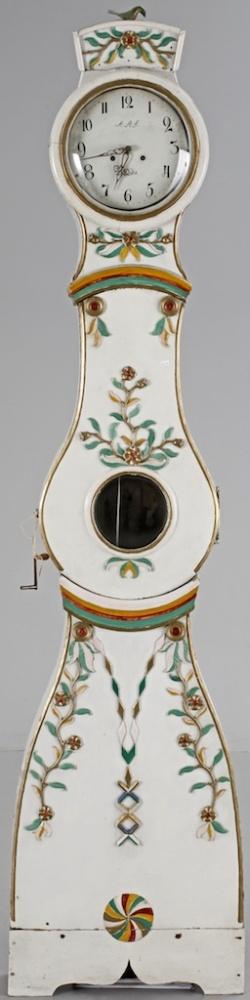 1800s white folk art decorated 240cm antique swedish mora clock.jpg
