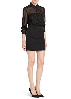 MANGO - CLOTHING - Tops - Blouses - Metallic print flowing blouse