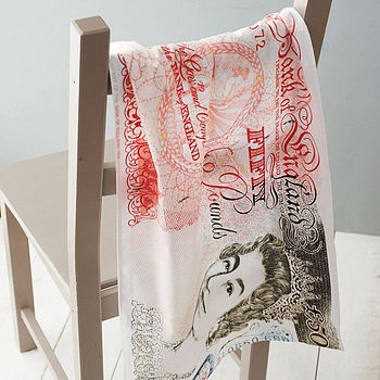 Bank Note Tea Towel by Ella James, notonthehighstreet.com, £8.50 - p&p takes it just over a tenner but worth it for such a cool pressie!