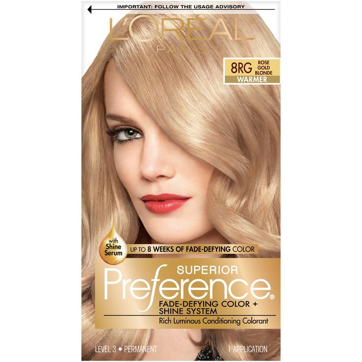 L'Oreal Paris Superior Preference Fade-Defying Color + Shine System - 8RG Rose Gold Blonde - 1 kit
