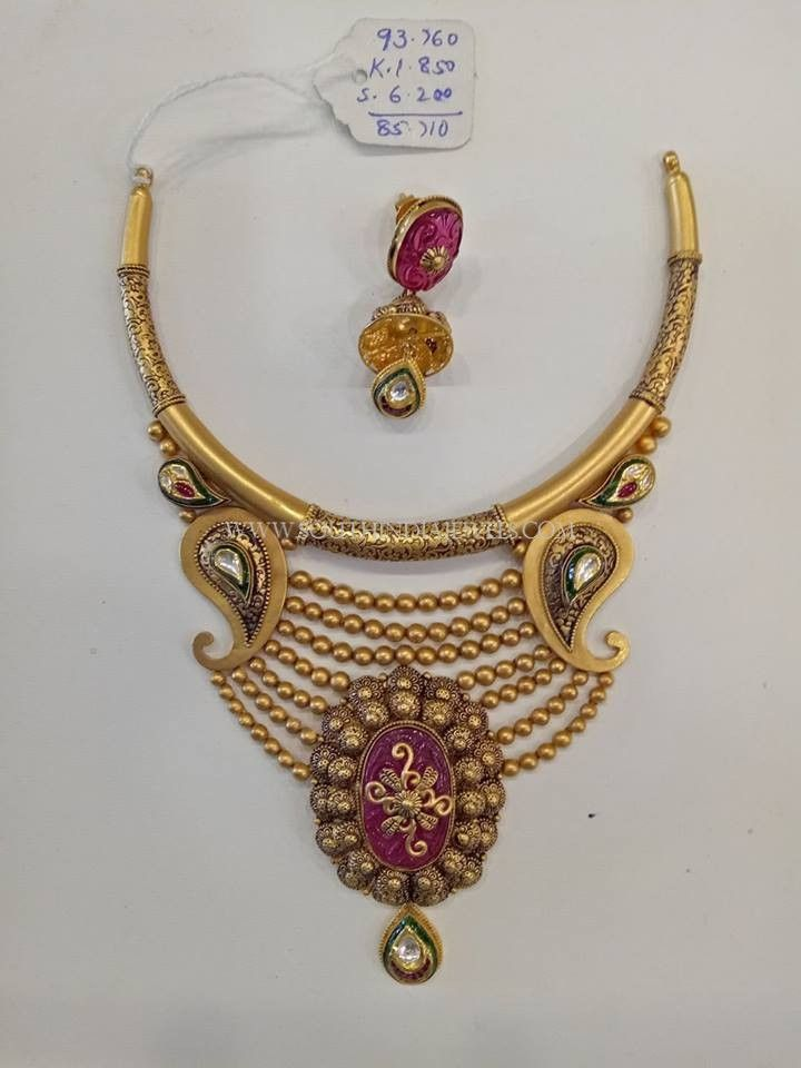 Gold Designer Antique Set With Jhumka, Gold Designer Necklace With Jhumkas.