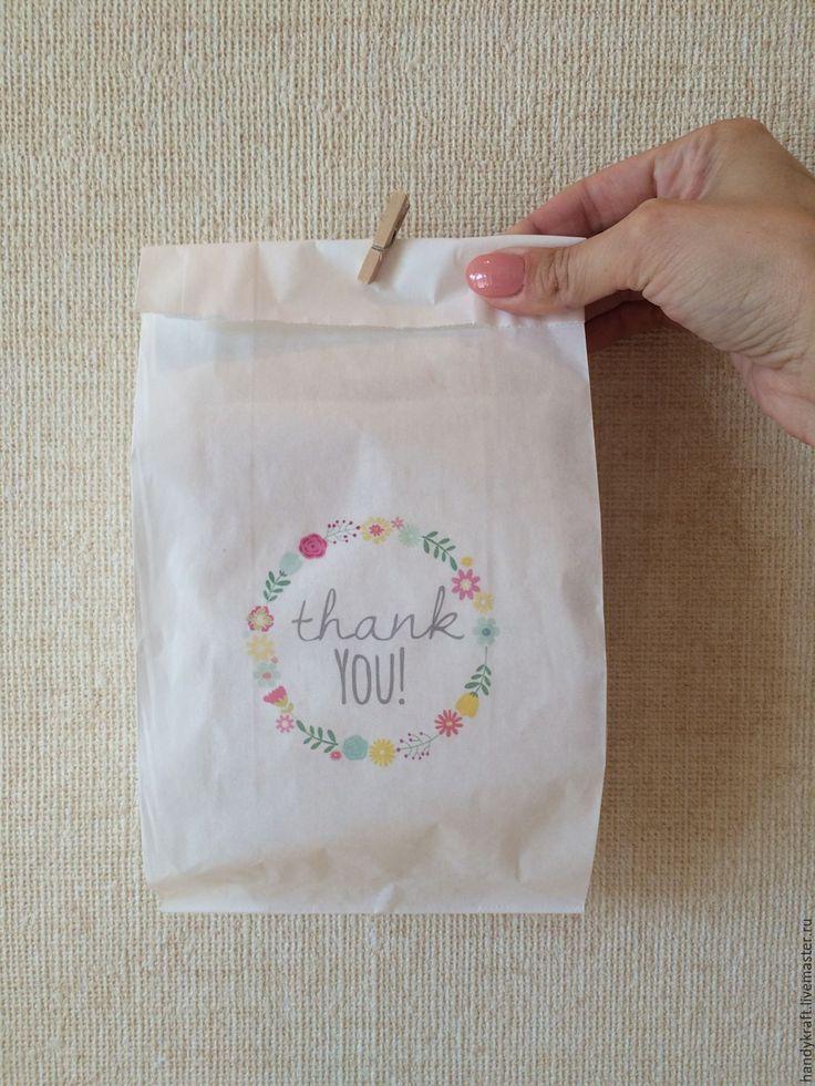 Купить Крафт пакет с рисунком 14х26 см - белый, крафт, крафт бумага, крафт пакет