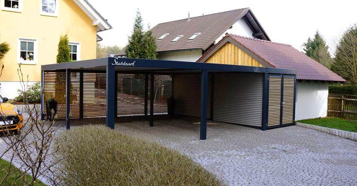 Carport Stahl Holz Abstellraum Wien · modern · Flachdach