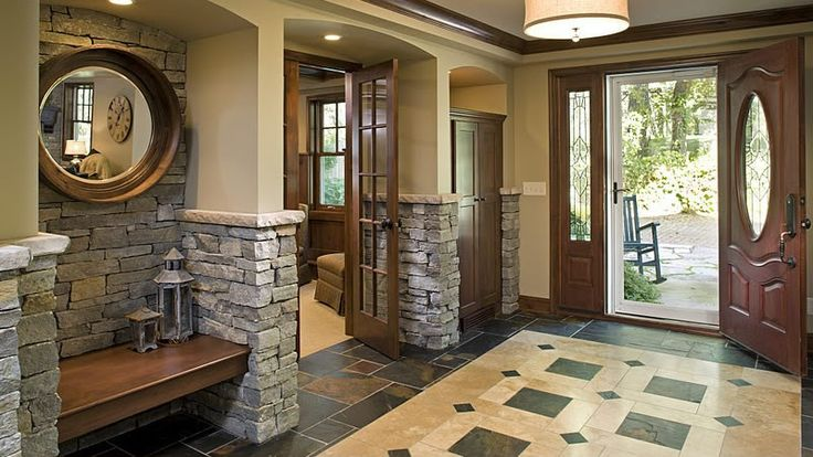 Interior Design That Features Stone Arches Slate Tile And Custom Bench Isp Ri Design Build