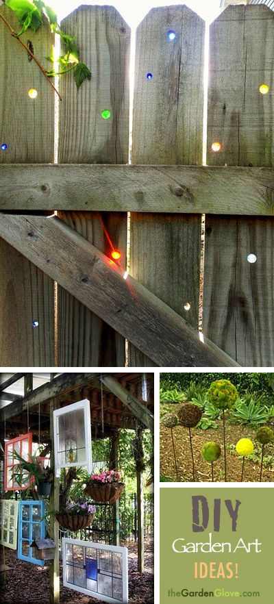 More great DIY Garden Art Ideas! Love the marbles in the fence idea!