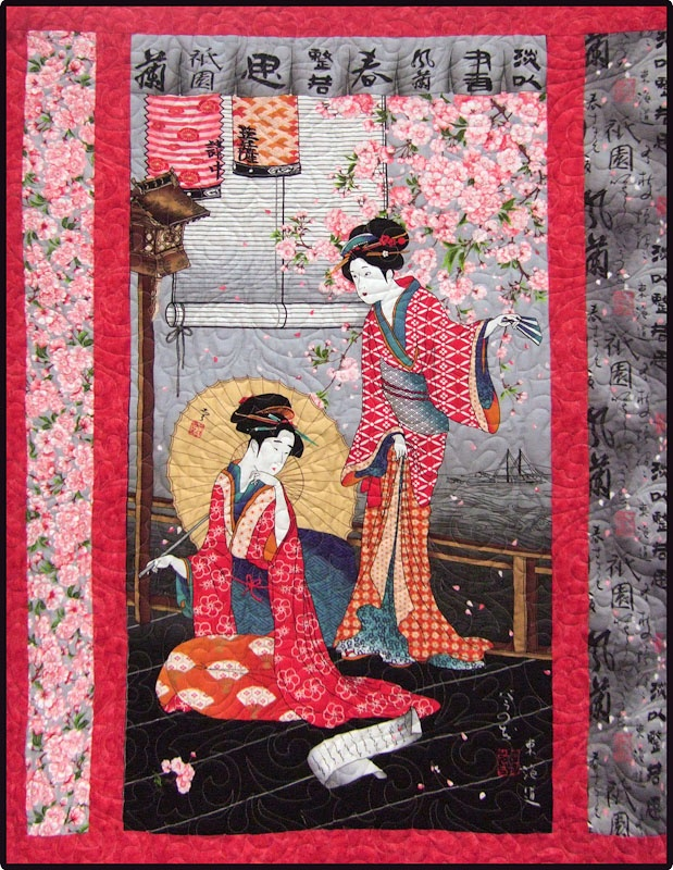 Be. Asian quilting fabric panels are