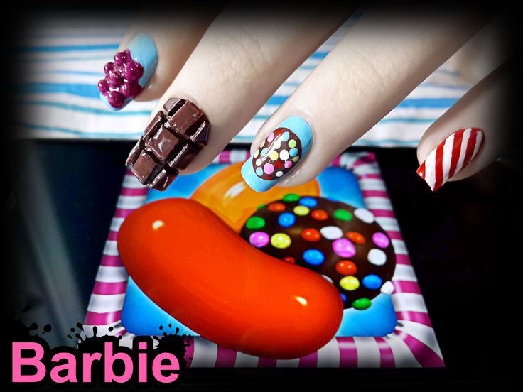 Candy Crush Nails - Nail design inspired by the video game that everyone is addicted to, candy crush!