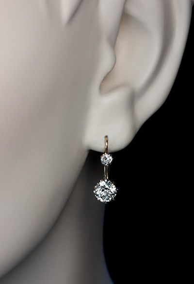 Vintage Two Stone Diamond Earrings c. 1910 - Antique Jewelry | Vintage Rings | Faberge Eggs
