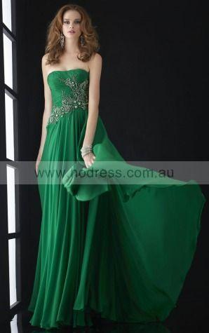 Sleeveless Strapless Backless Chiffon Floor-length Formal Dresses zrh010