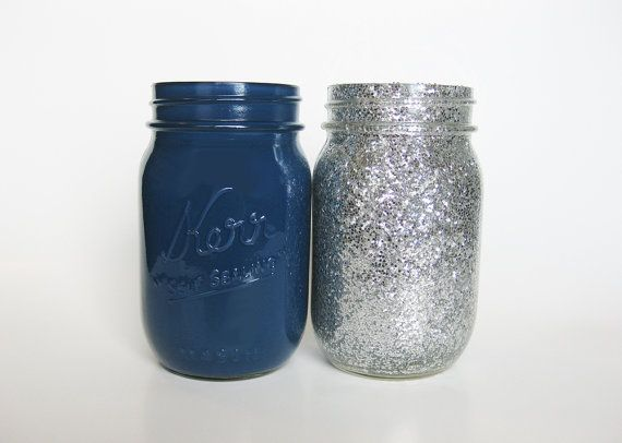 Dark Blue and Silver Glitter Mason Jar Set would be perfect for a Dark Blue and Silver Graduation Party Center Piece.