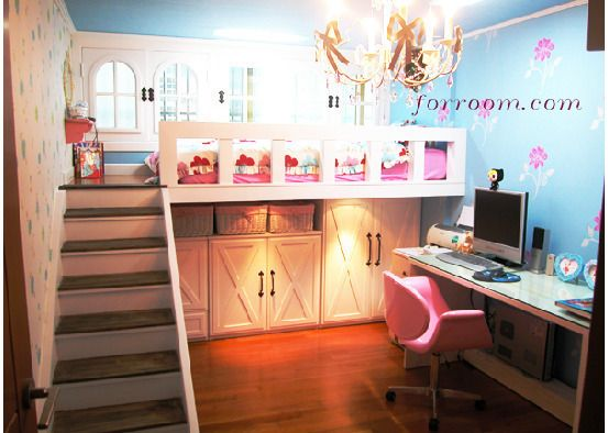 Cute girls room with loft