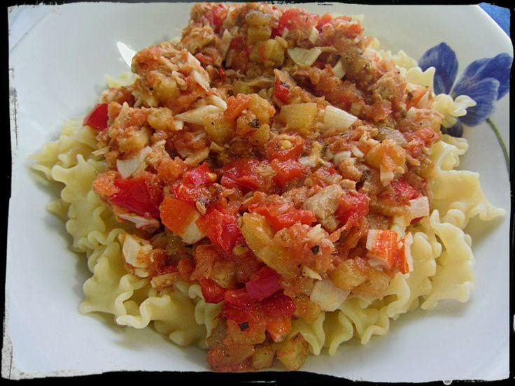 El Puchero de Morguix: Pasta con verduras, atún y surimi