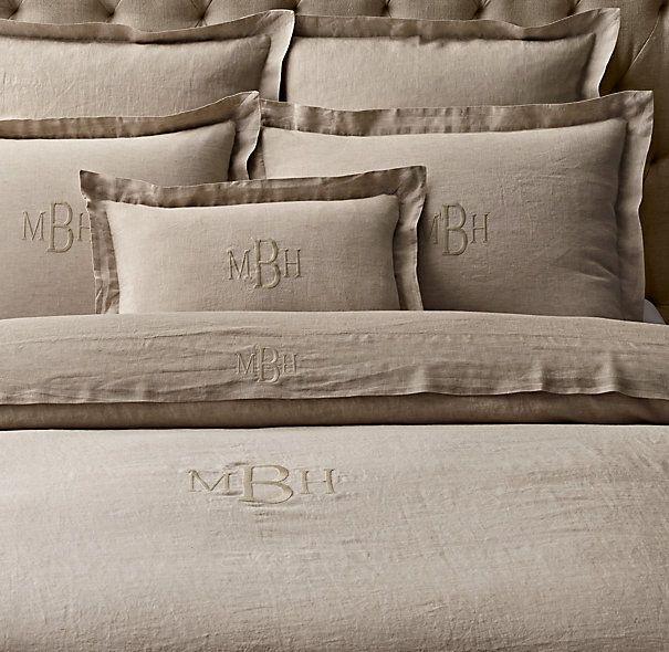 Monogram Duvet Cover Vintage Washed Belgian Linen Beautiful Bedrooms Pinterest Bed And Bedding