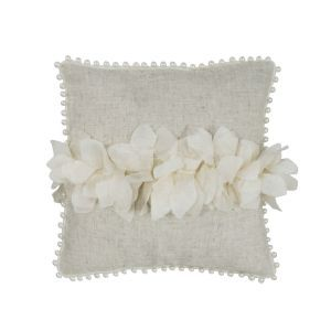 Petals and Pearls Square Linen Cushion