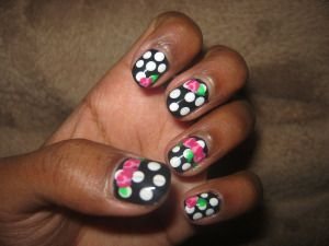 Roses on Black and White Polka Dots