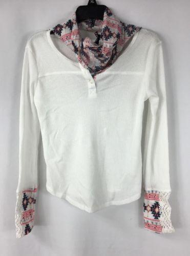 MISS understood Girls 2-Piece White Henley Shirt Matching Scarf NWT size Large