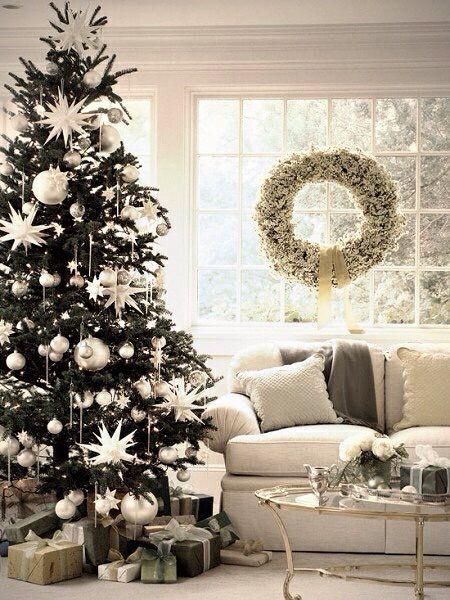 Splendidi addobbi natalizi argentei.