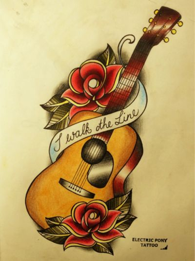Johnny Cash tattoo -- guitar, rose, I walk the line---Nice, but Id put a Beatles quote instead :D http://eclipcity.com