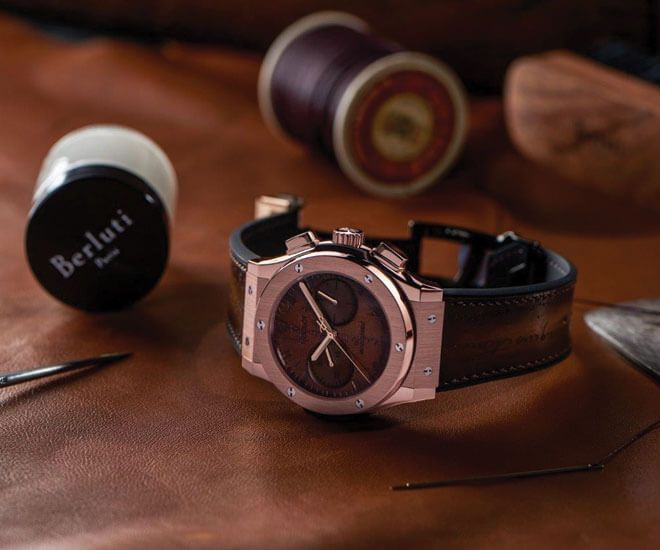 "Hublot and Berluti expand the ""Classic Fusion Chronograph"" collection with two timepieces"