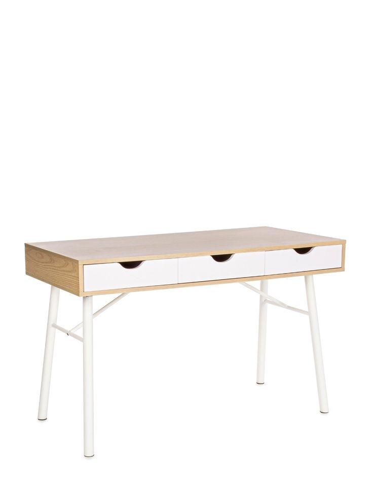 Scrivania in acciaio verniciato colore bianco con piano in mdf e tre cassetti 710361 L120h77p60cm: Amazon.it: Casa e cucina