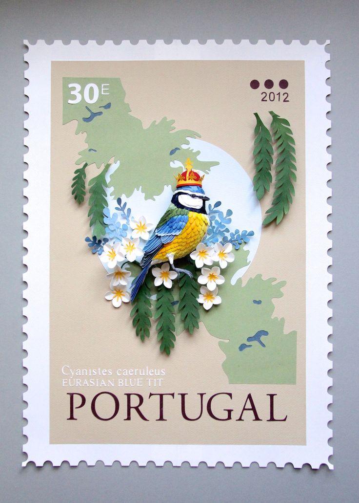 3D bird postage stamp by Diana Beltrain Herrera