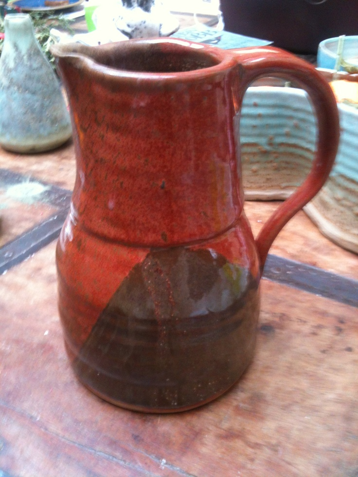 Red and brown stoneware vase