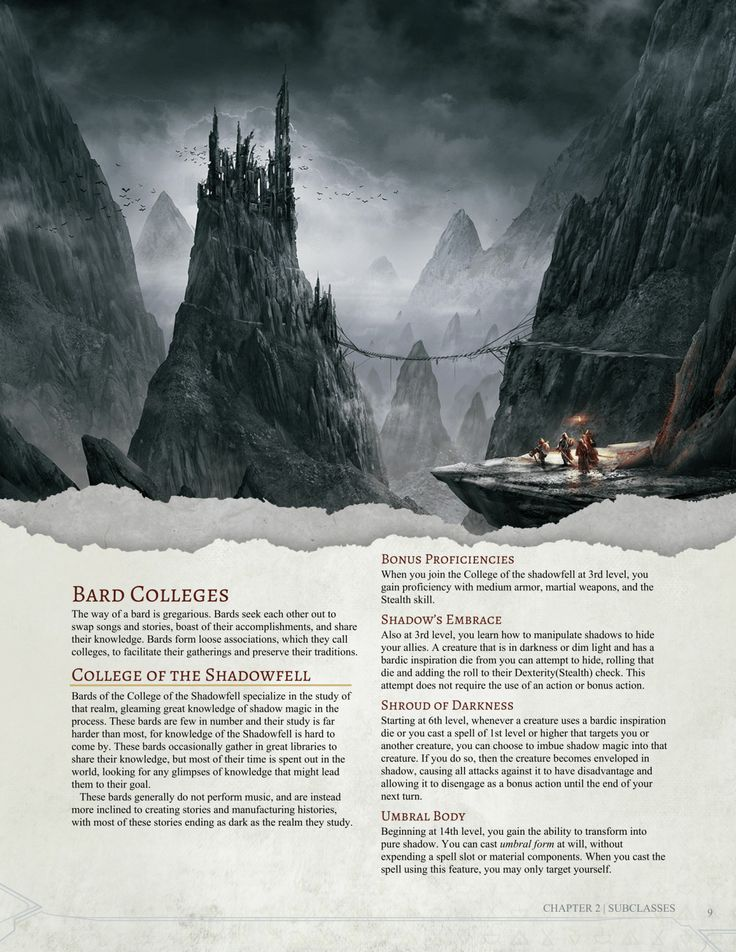 DnD 5e Homebrew — College of the Shadowfell Bard by Jonoman3000