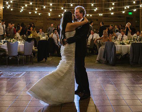 First dance at a wedding on a teak portable dance floor
