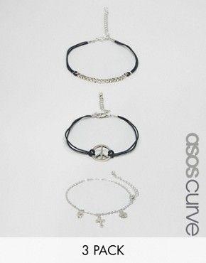 ASOS CURVE – Kettenarmbänder im Grunge-Stil, 3er-Set