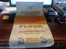 ANTIQUE VINTAGE 24 LBS. FLOUR SACK. GOLDEN BAND OLEAN MILLING CO OLEAN MISSOURI