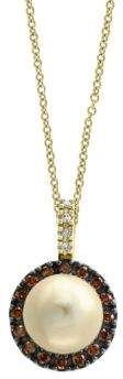 Effy Final Call 0.25TCW Diamonds, Brown Diamonds, 9MM Round Golden Freshwater Pearl and 14K Yellow Gold Pendant Necklace