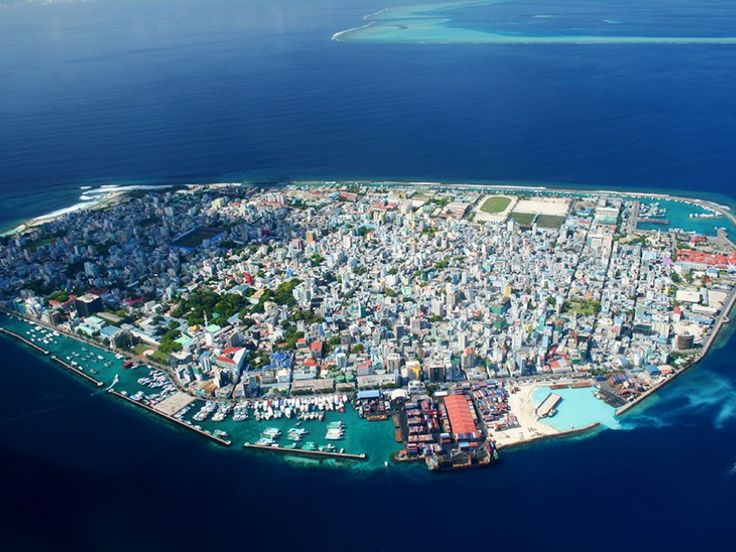 The island of Male, capital of Maldives Islands.