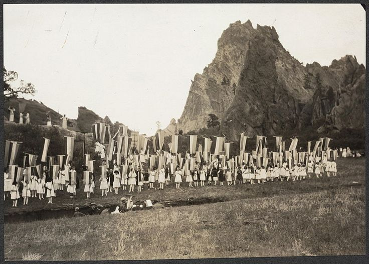 Pageant celebrating the 75th anniversary of the 1848 Seneca Falls Convention, Garden of the Gods, Colorado Springs, Colorado. 1925. Photo by Harry L. Standley