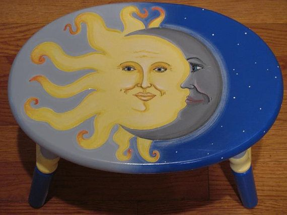 Hand Painted Sun Moon Stars Step Stool By Topdrawerart On
