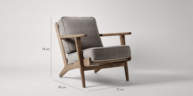 Swoon Editions Armchair, retro style in Stonewashed Grey - £329