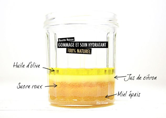 Recette de soin des mains naturel - 1 cuillère à soupe de sucre roux - 1 cuillère à soupe d'huile d'olive - 1 cuillère à café de jus de citron - 1 cuillère à café de miel épais