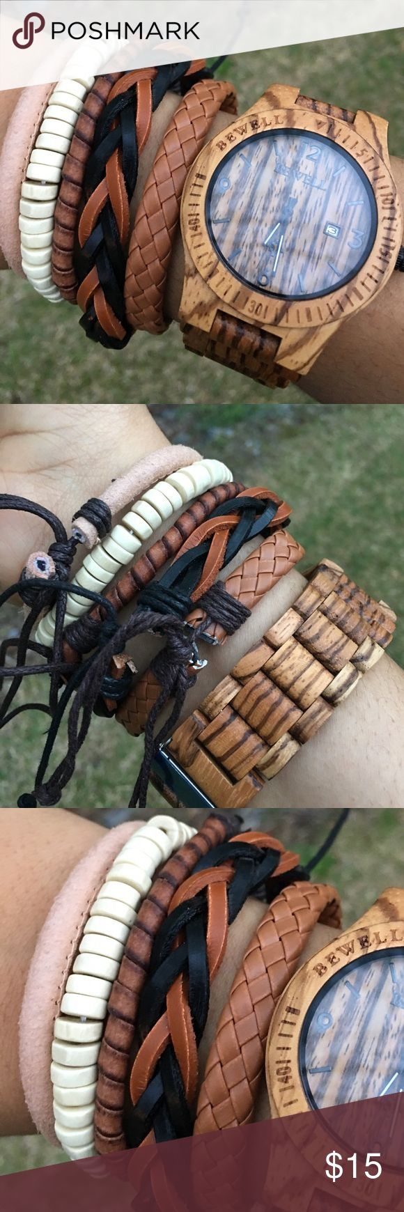 🆕5  Adjustable Bracelets 4 Leather Adjustable bracelets meant to be worn together looks great with or without a watch. One bracelet is Stretch the other 4 adjustable. JustMen Accessories Jewelry